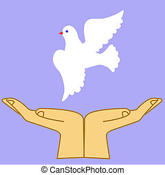 illustration of the dove in hand