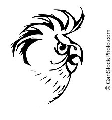 silhouette of the parrot on white