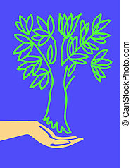 drawing of the hand holding tree