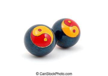 Baoding balls isolated on white background
