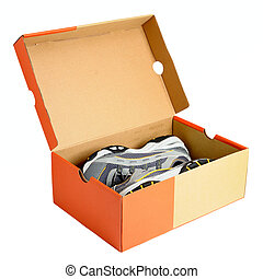Pair of sneakers in shoe cardboard box isolated on white...