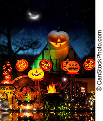 Happy Halloween image with lots of glowing jackolanterns in...
