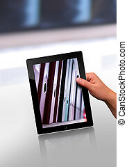 flat tablet pc - working with a modern flat tablet pc