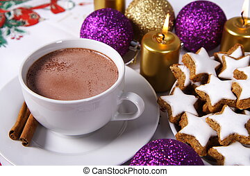 Hot chocolate and cookies - Cup of hot chocolate with...
