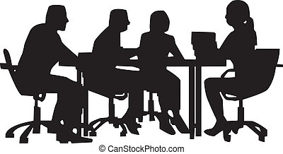 Office meeting worker at desk in meeting