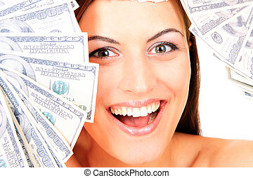 Young happy woman with dollar notes Isolated on white...