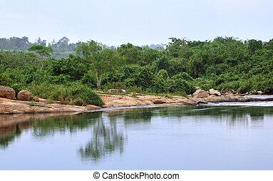 Victoria Nile scenery in Uganda - waterside scenery showing...