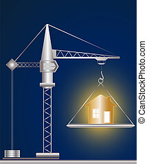 construction crane and golden house on blue background