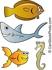 Cartoon Fish - Four cartoon fish species with silly faces