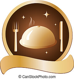 golden dish with fork and knife - prestige golden symbol...