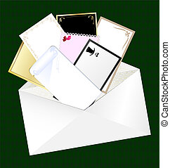 envelope and blank cards - on a green background is white...