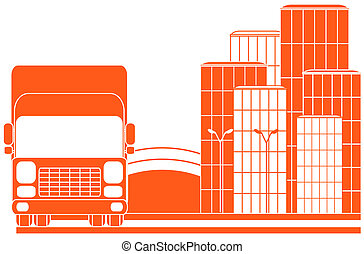 urban delivery sign with lorry