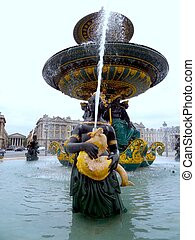 Parisian water fountain - Two tier Green, black and golden...