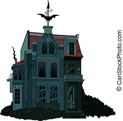 Spooky haunted house - Illustration of a spooky haunted...