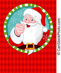Santa Claus pointing - Santa Claus pointing. Greeting card...