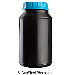 Black Plastic Jar - Blue Lid - Black plastic jar with blue...
