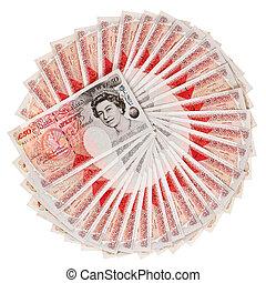 muitos, 50, libra, esterlino, banco, notas, ventilado,...