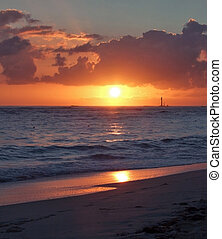caribbean sunset - beach with sunset at the Dominican...