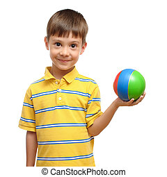 Child playing with colorful toy rubber ball isolated on white background