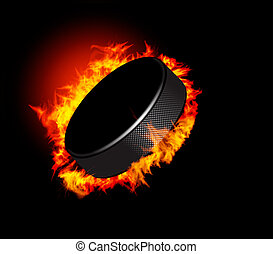 Hockey Puck in Fire isolated on Black Background