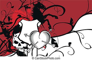 heraldic heart arrows crest backgr1