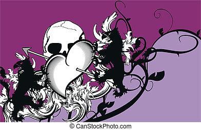 heraldic heart arrows crest backgr2