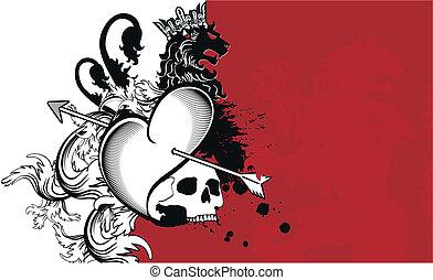 heraldic heart arrows crest backgr4