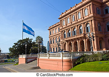 Casa Rosada and flag in Argentina - The Casa Rosada and an...