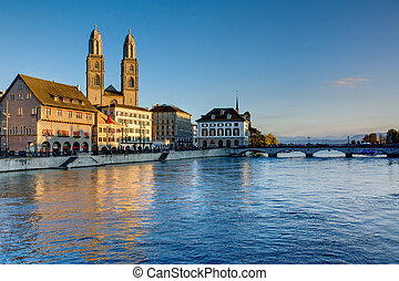 Zurich in the last evening light - Zurich with the Limmat...