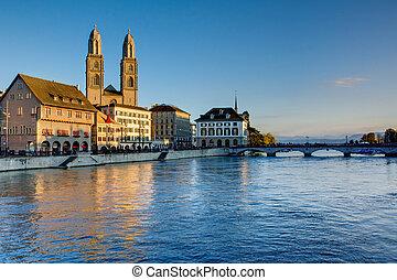 Zurich in the last evening light - Zurich with the Limmat...