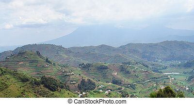 Virunga Mountains in Uganda - aerial view around the Virunga...
