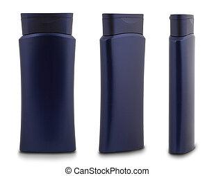 Blue Shower Gel Bottle - 3 Different Angles