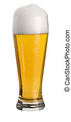 glass of wheat beer - glass of cold wheat beer with froth...