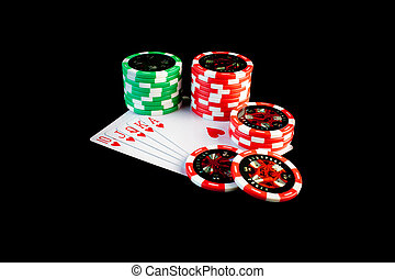 Winning hand - Poker chips stacked up on a winning hand
