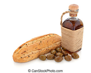 Olive Bread, Oil and Olives - Olive bread and olives with...