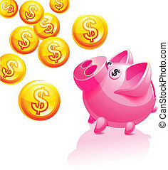 Piggy bank illustration. Vector icon. Pink