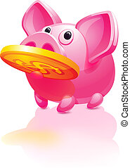 Pink piggy bank, pig vector icon, gold coins