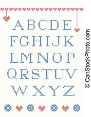 Cross stitch alphabet with design elements suitable for...
