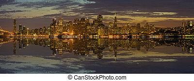 San Francisco Skyline at Sunset Panorama - San Francisco...