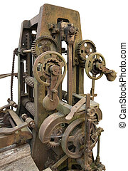Reciprocating saw - detail of a rusty historic reciprocating...