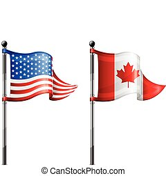 USA and Canada flags - Two little USA Canada triangle flag...