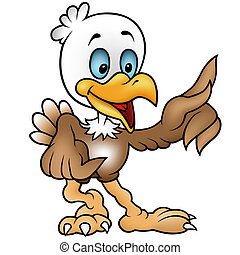 Little Bald Eagle - colored cartoon illustration, vector