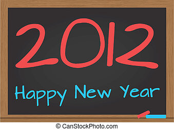 2012 chalkboard - illustration of chalkboard with 2012 happy...