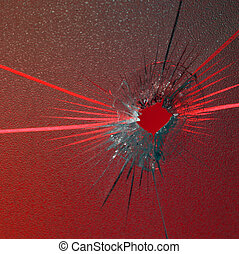 red shot - full penetration in structured glass on red back