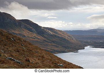 landscape near Stac Pollaidh with dramatic sky - panoramic...