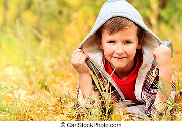 boy - Cute little boy at the autumn park
