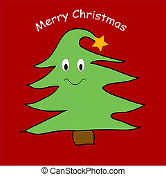 Funny Christmas tree - Happy smiling pine tree vector...