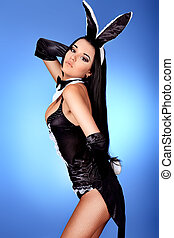 bunny - Sexy playgirl in bunny costume over grey background.
