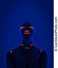 UV portrait - close-up portrait of young woman wearing UV...