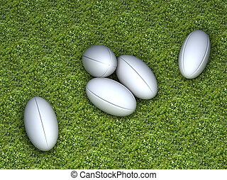 Five white rugby balls without any brand - Five white rugby...